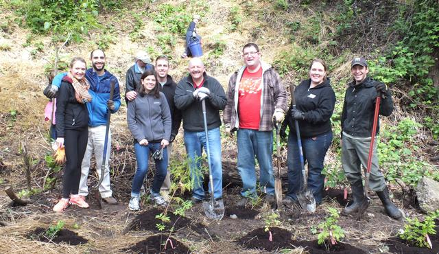 PBS staff volunteering for Earth Day