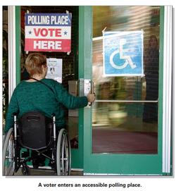 Voter in wheelchair entering polling place photo.