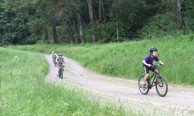Kids enjoy off-road biking paths at Gateway Green. Photo is courtesy of Edward LeClaire and PP&R.