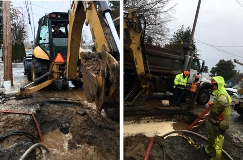 Water Bureau maintenance crews repair pipes
