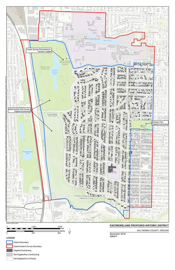 Map of proposed Eastmoreland Historic District