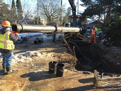 Crews install new pipe