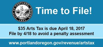 Graphic of Arts Tax Deadline