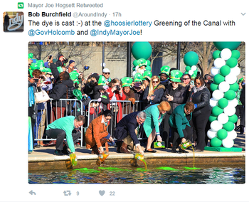 Tweet of Indianapolis Greening of the Canal event