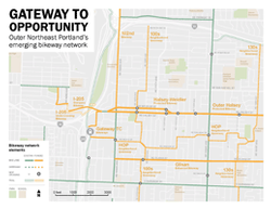 Map of planned bikeways in Gateway district