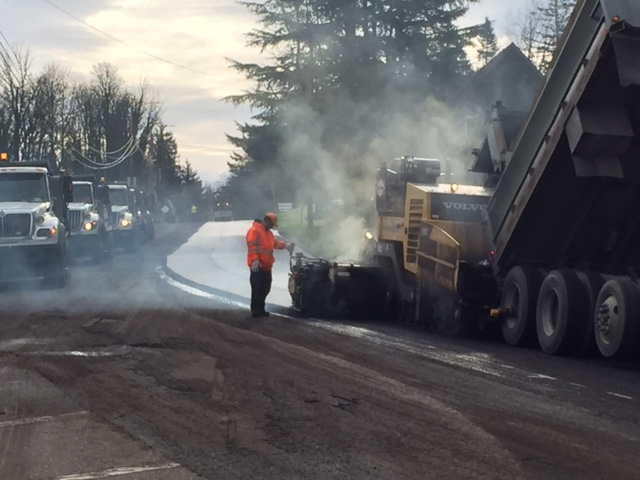 Paving crew on West Burnside