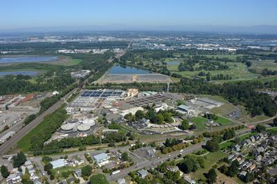 Aerial photo of Columbia Blvd Wastewater Treatment Plant