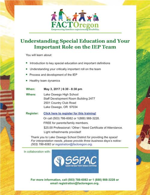 Graphic of flyer for FACT-Oregon workshop