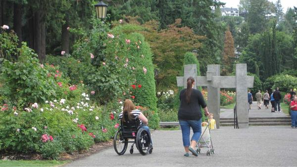 Photo of person in wheelchair at Rose Garden.