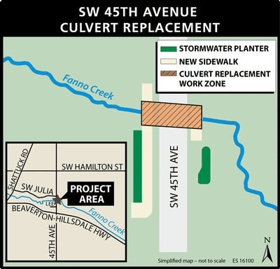 SW 45th Culvert project area map