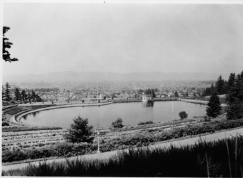 Reservoir #5 with view of downtown Portland, taken 1935