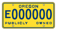Example of Oregon government license plate