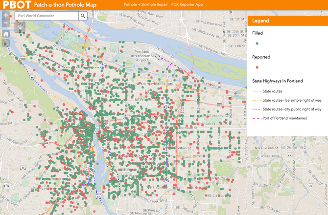 Pothole Sinkhole Repair Repairs The City Of Portland Oregon - Portland usa map