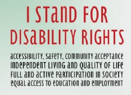 Graphic of I stand for disability rights poster.