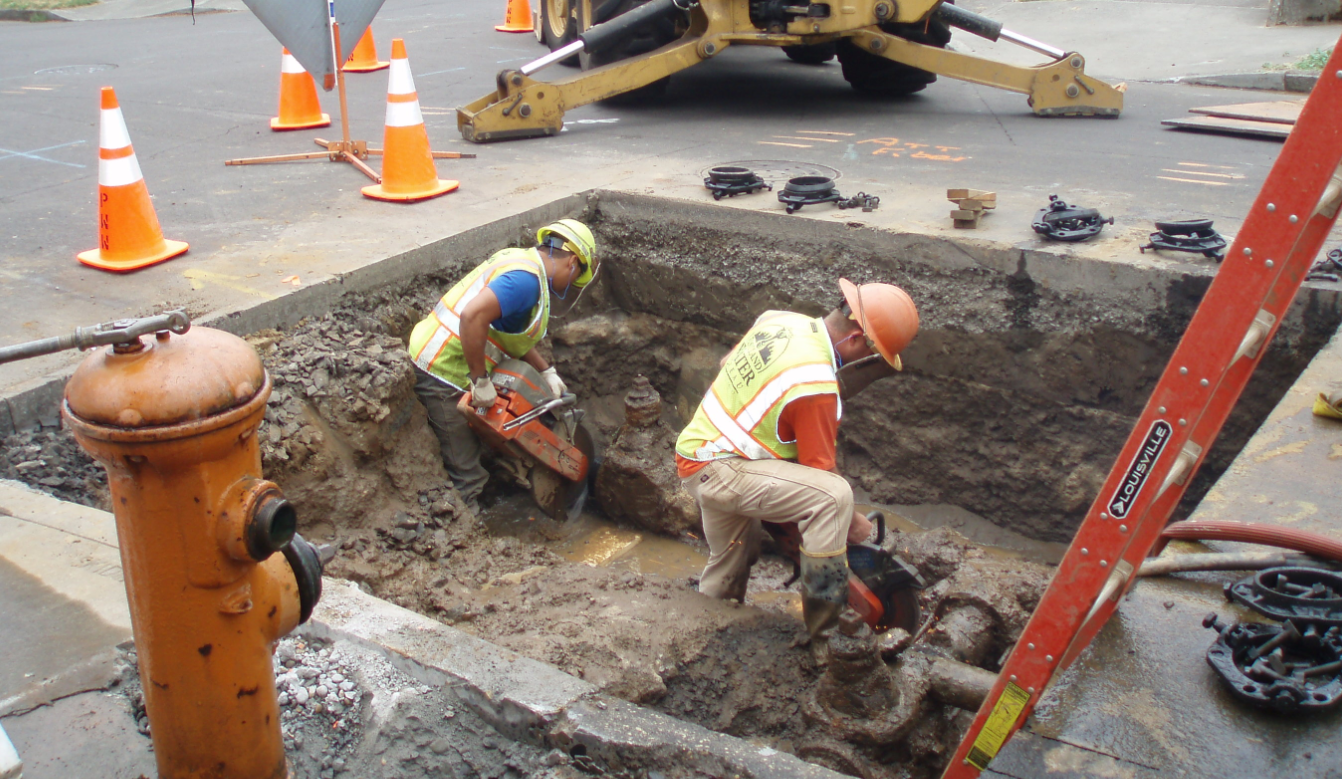 Maintenance crews repair water main
