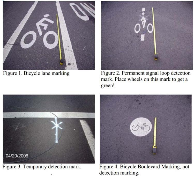 Photos: bike lane marking, signal loop marking, bikeway marking