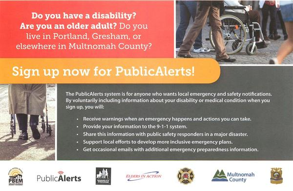 Graphic of Public Safety Alerts handbill.