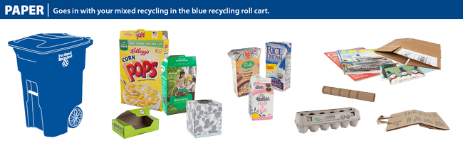 Accepted paper items in blue recycling roll cart