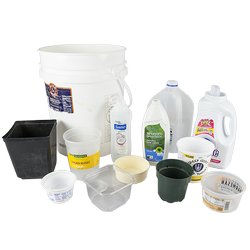 Plastic buckets, tubs and bottles