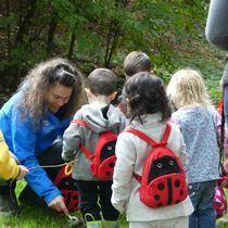 Teacher Pika explores with the children at Mt Tabor!