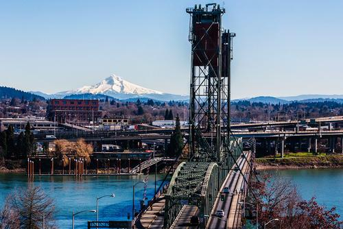 Photo of Mt Hood from downtown Portland