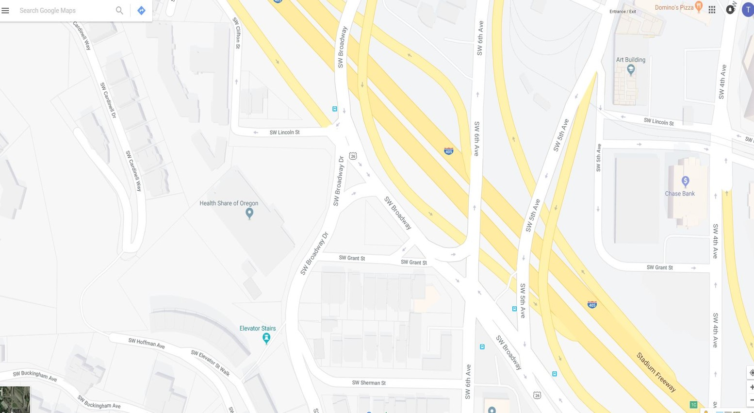 SW Broadway and SW Grant - Google Map
