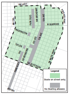 A map of places to skateboard in downtown.
