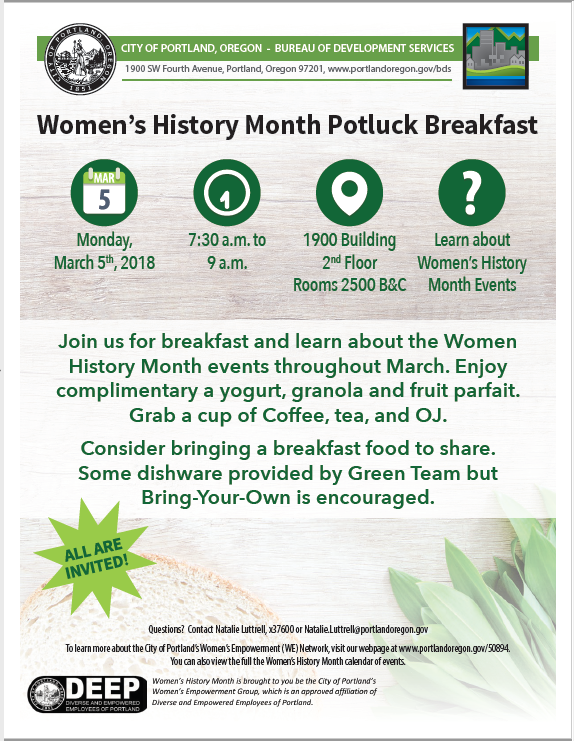 Women's History Month Potluck Breakfast poster