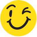 A winky smiley face emoji character