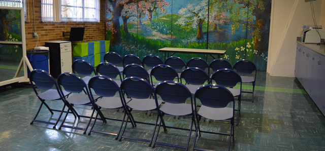 Photo of a meeting set up in the Multi--use Room at Montavilla CC