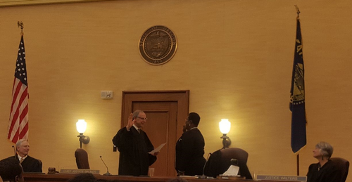 Justice Nelson Being Sworn in by Chief Justice Balmer