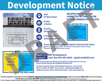Draft Development Notice Sign