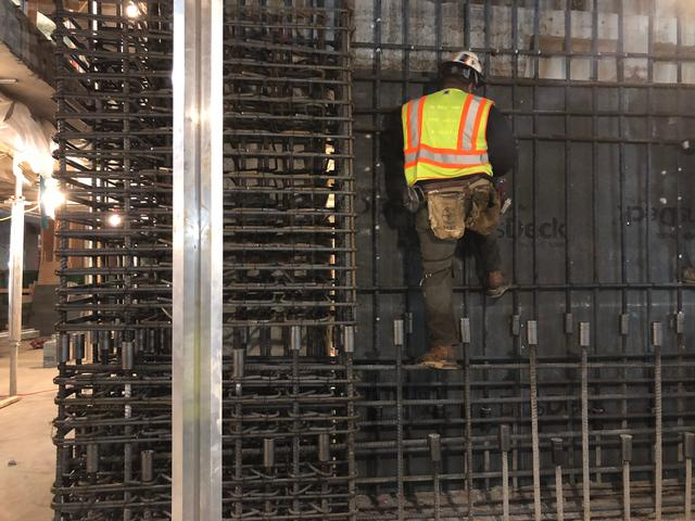 close up of basement rebar installation