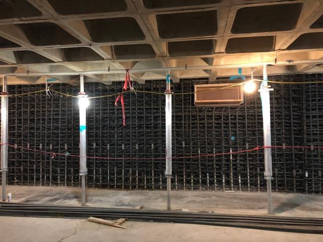 completed wall section - basement rebar installation