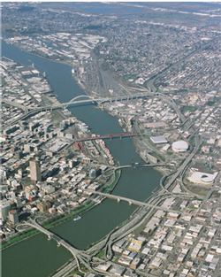 Bird's eye view of Portland and the Willamette River