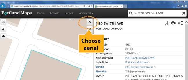 Graphic showing how to select aerial view
