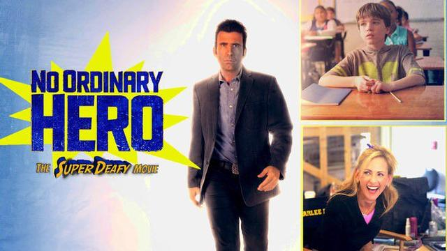 Graphic of No Ordinary Hero poster.