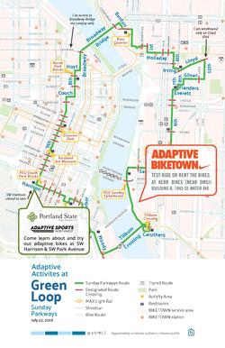 A map of where you can rent and use Adaptive Bikes at Green Loop