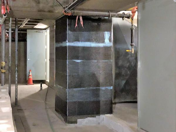 carbon fiber reinforced polymer wrapped column - basement