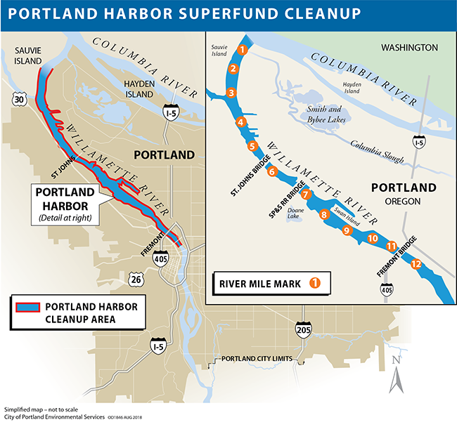 Map of the Portland Harbor cleanup area