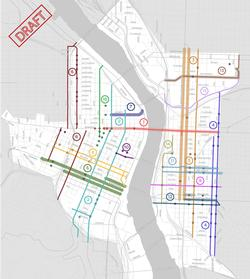 Map of streets for potential projects