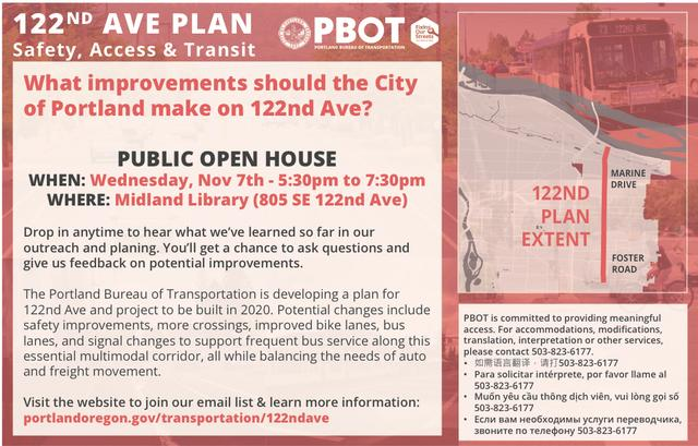 Graphic of PBOT 122nd Avenue Plan flyer.