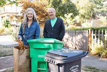 Residents compost autumn leaves.