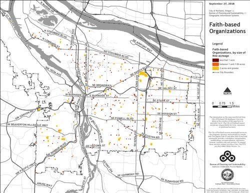 Map of faith-based organizations in the City of Portland