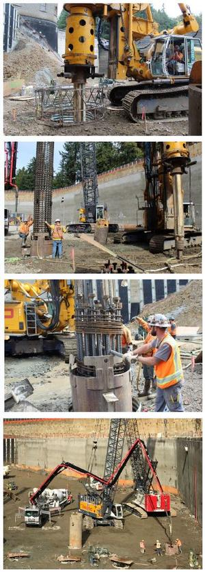 Large machine drills shafts into ground at construction site