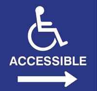 "International Symbol of Accessibility. Text below reads ""accessible, and an arrow points to the right."