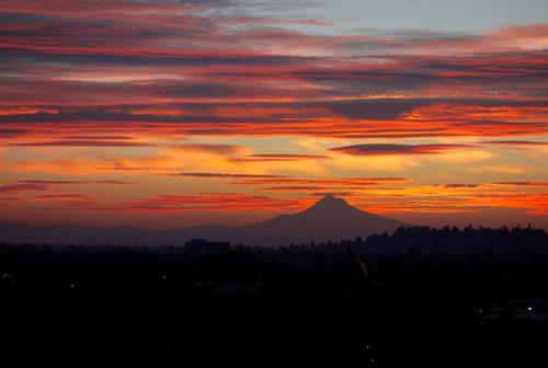 Mt. Hood in sillouhette during sunset, pink and purple clouds scattered across the sky