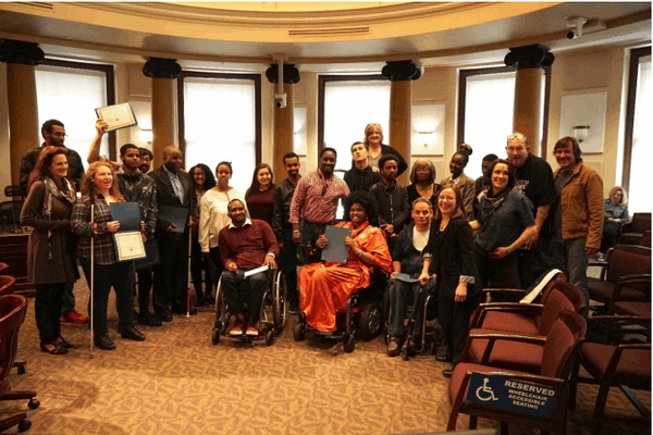 Photo of 2018 Disability Power PDX Cohort in Council Chambers