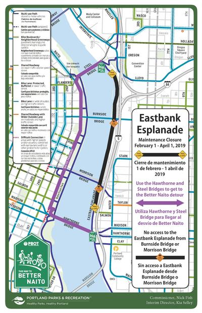 Eastbank Esplanade Detour Map