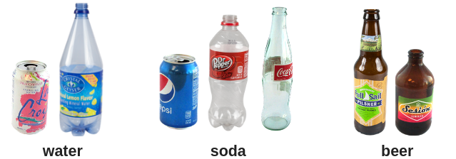 Cans and bottles of water, soda and beer